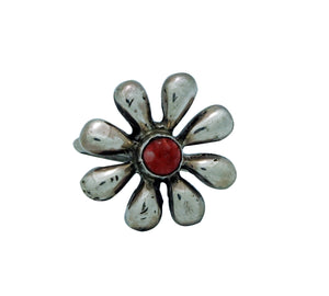 Ernest Rangel, Ring, Flower Blossom, Red Spiny Oyster Shell, Navajo Made, 8