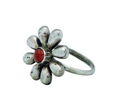 Load image into Gallery viewer, Ernest Rangel, Ring, Flower Blossom, Red Spiny Oyster Shell, Navajo Made, 8