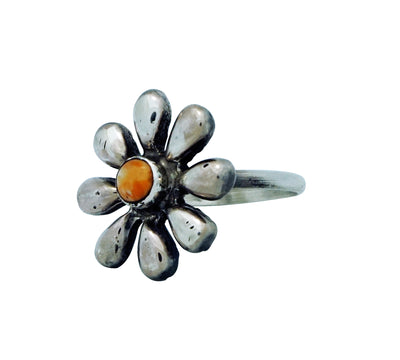 Load image into Gallery viewer, Ernest Rangel, Ring, Flower Blossom, Orange Spiny Oyster Shell, Navajo, 9