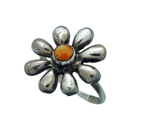 Ernest Rangel, Ring, Flower Blossom, Orange Spiny Oyster Shell, Navajo, 9
