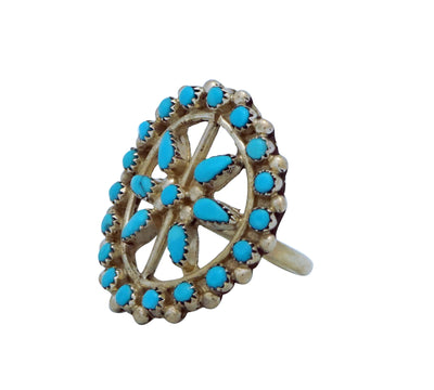 Load image into Gallery viewer, Zuni, Sleeping Beauty Turquoise, Cluster Ring, Sterling Silver, Handmade, 7