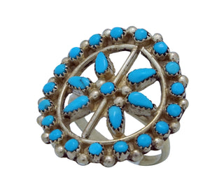 Zuni, Sleeping Beauty Turquoise, Cluster Ring, Sterling Silver, Handmade, 7