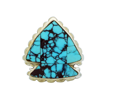 Load image into Gallery viewer, Randy Boyd, Ring, Silver Arrowhead, Spider Web Turquoise, Navajo Handmade, 6