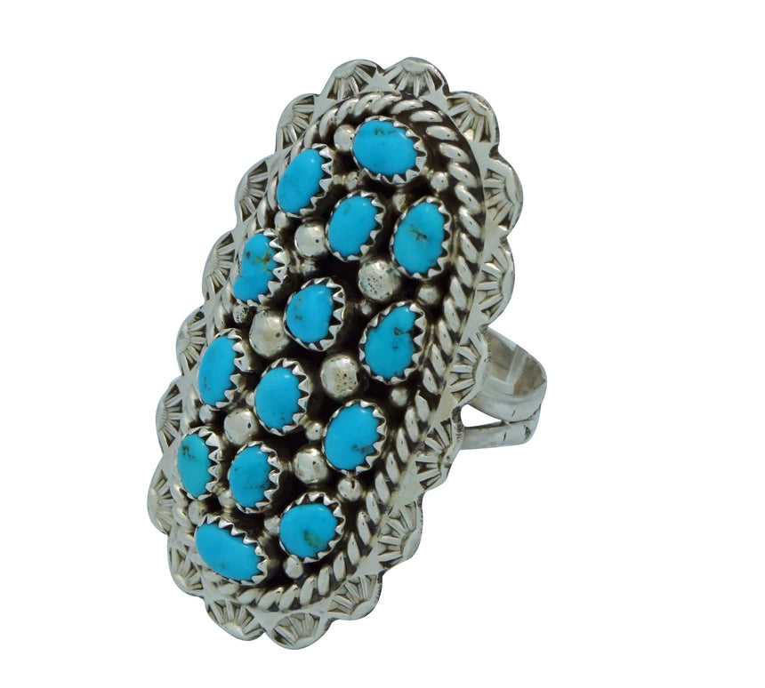 Tiffany Jones, Ring, Kingman Turquoise, Stamping, Silver, Navajo Made, 9 ½