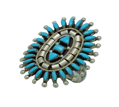 Load image into Gallery viewer, Evonne Hustito, Ring, Sleeping Beauty Turquoise, Silver, Zuni Handmade, 10 ½