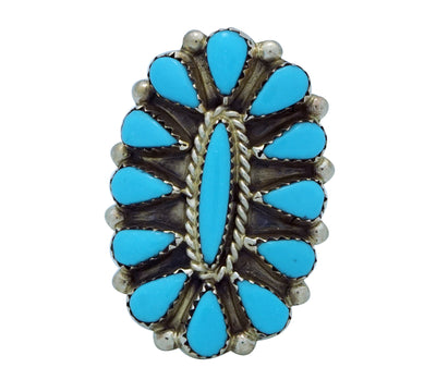 Load image into Gallery viewer, George Gasper, Ring, Cluster, Sleeping Beauty Turquoise, Zuni Handmade, 10