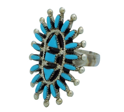 Load image into Gallery viewer, Evonne Hustito, Ring, Needlepoint, Sleeping Beauty Turquoise, Zuni Handmade, 8
