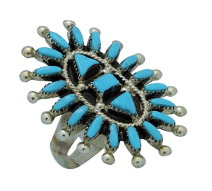 Evonne Hustito, Ring, Needlepoint, Sleeping Beauty Turquoise, Zuni Handmade, 8