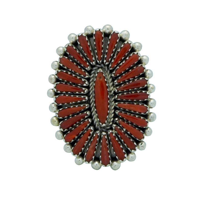 Kyle Wilson, Ring, Mediterranean Coral, Cluster, Silver, Navajo Made, 8 ½
