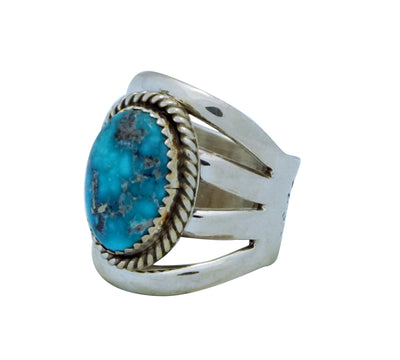 Load image into Gallery viewer, Wilbert Benally, Ring, Split Design, Morenci Turquoise, Navajo Handmade, 7