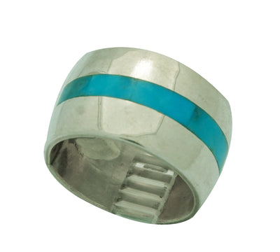 Load image into Gallery viewer, Calvin Desson, Ring, Kingman Turquoise, Band, Sterling Silver, Navajo Made, 8
