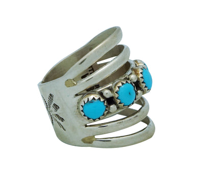Load image into Gallery viewer, Wilbert Benally, Ring, Split Design, Stamping, Turquoise, Navajo Handmade, 8