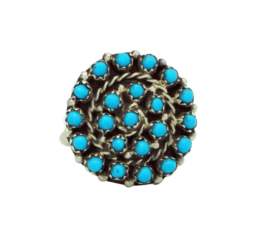 Randy Hooee, Ring, Petit Point, Sleeping Beauty Turquoise, Zuni Handmade, 8