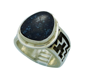 Tommy Jackson, Ring, Red Mountain Turquoise, Rug Design, Navajo Handmade, 11
