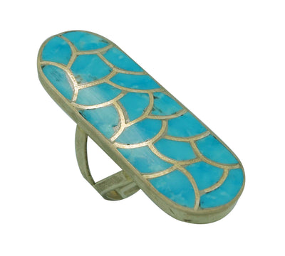 Load image into Gallery viewer, Carmichael Haloo, Ring, Sleeping Beauty Turquoise, Silver, Zuni Handmade, 6 ½