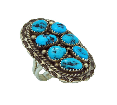 Load image into Gallery viewer, Julia Etsitty, Ring, Kingman Turquoise, Stamping, Silver, Navajo Handmade, 8
