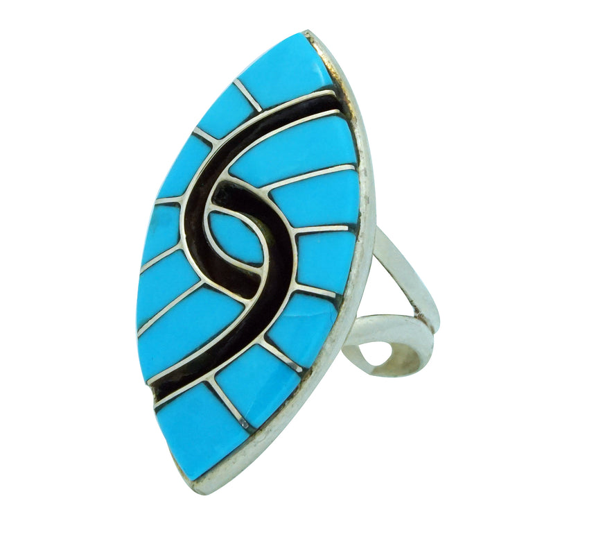 Amy Quandelacy, Ring, Sleeping Beauty Turquoise, Silver, Zuni Handmade, 6 ½
