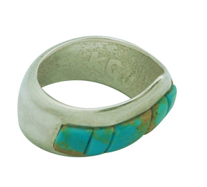 Kelsey Jimmie, Ring, Tufa Cast, Carving, Turquoise Mountain, Navajo Made, 8 1/2