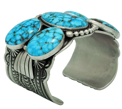 Load image into Gallery viewer, Darrell Cadman, Bracelet, Kingman Turquoise, Stamping, Navajo Handmade, 6 3/4