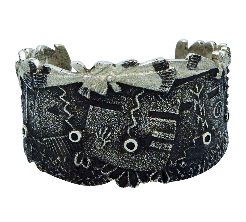 Lee Begay, Bracelet, Yei' be Chee', Tufa Cast, Carving, Navajo Handmade, 6 3/8