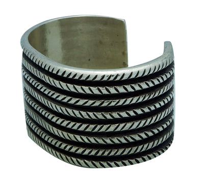 Load image into Gallery viewer, Aaron Anderson, Bracelet, Tufa Cast, Wide, Stamping, Silver, Navajo Made, 6 3/4