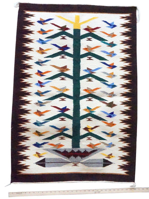"Load image into Gallery viewer, Nora Bitah, Tree of Life, Pictorial, 42 Birds, Wedding Basket, Navajo, 43"" x 30"""