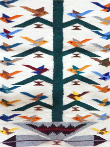 "Nora Bitah, Tree of Life, Pictorial, 42 Birds, Wedding Basket, Navajo, 43"" x 30"""