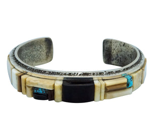 Lester James, Bracelet, Inlay, Iron Wood, Turquoise, Jet, Navajo Made, 6 ¾