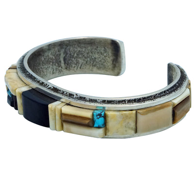 Load image into Gallery viewer, Lester James, Bracelet, Inlay, Iron Wood, Turquoise, Jet, Navajo Made, 6 ¾