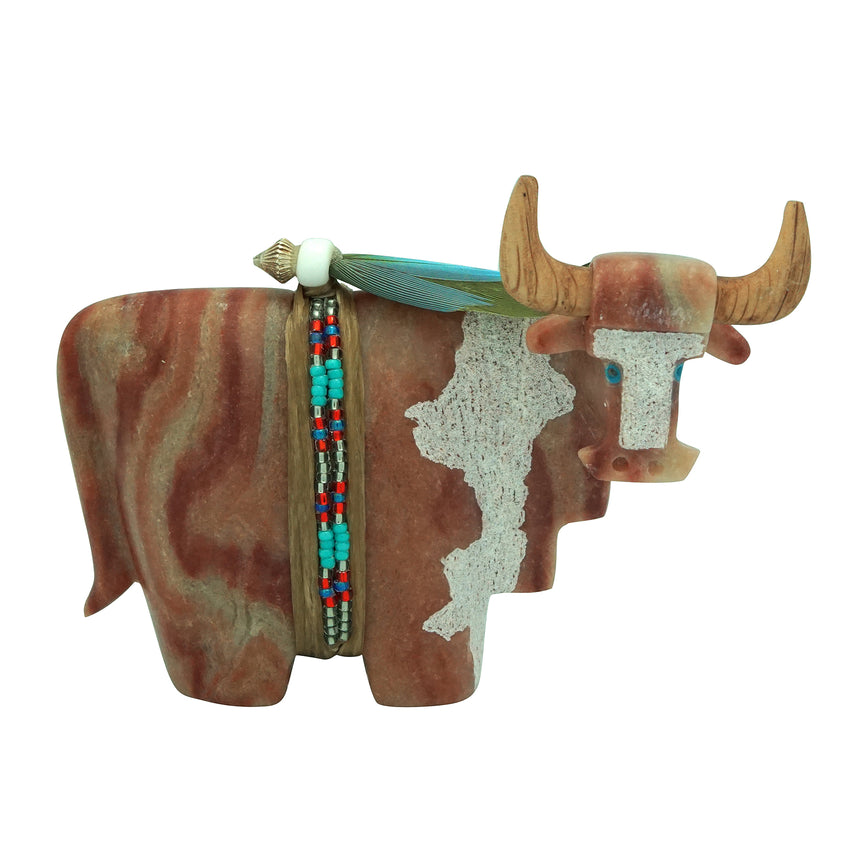 Harold Davidson, Bull, Red, Orange Alabaster, Navajo Made, 4 1/8