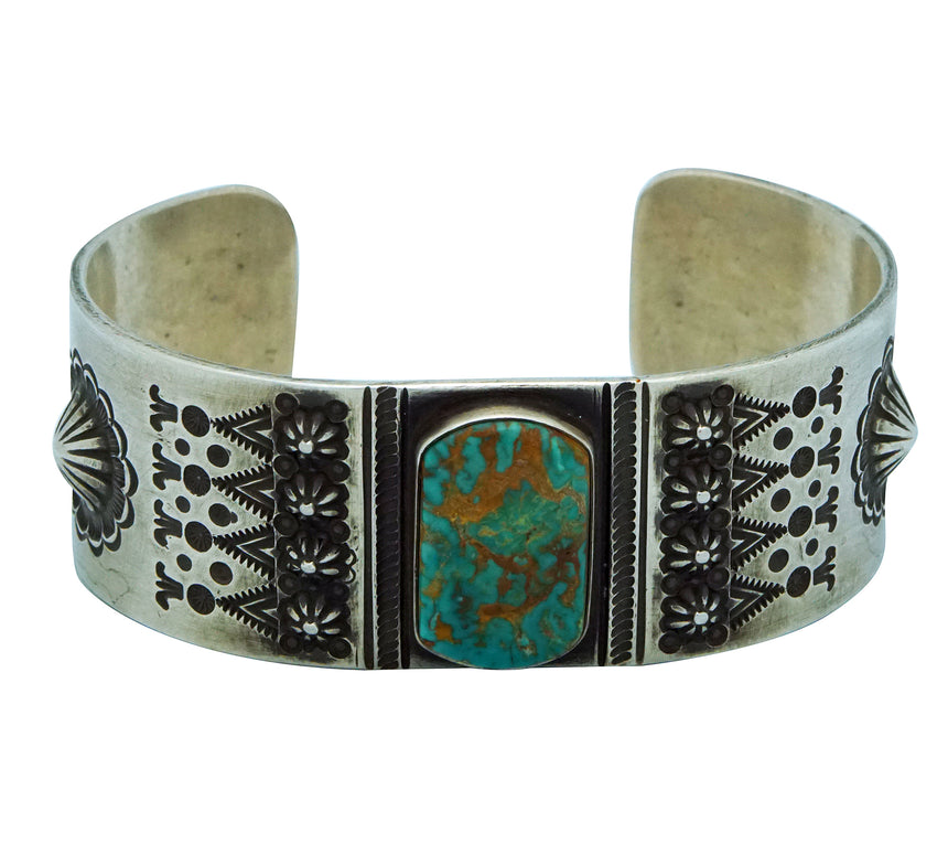 Edison Sandy Smith, Bracelet, Fox Turquoise, Revival, Navajo Handmade, 7 1/8