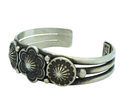 Load image into Gallery viewer, Edison Sandy Smith, Bracelet, Flower Blossom, Stamping, Navajo Handmade, 6 5/8