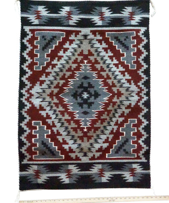 "Load image into Gallery viewer, Jeff Benally, Ganado Red Weaving, Diamond, Navajo Handwoven, 43"" x 30"""