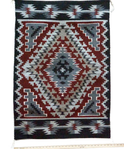 "Jeff Benally, Ganado Red Weaving, Diamond, Navajo Handwoven, 43"" x 30"""