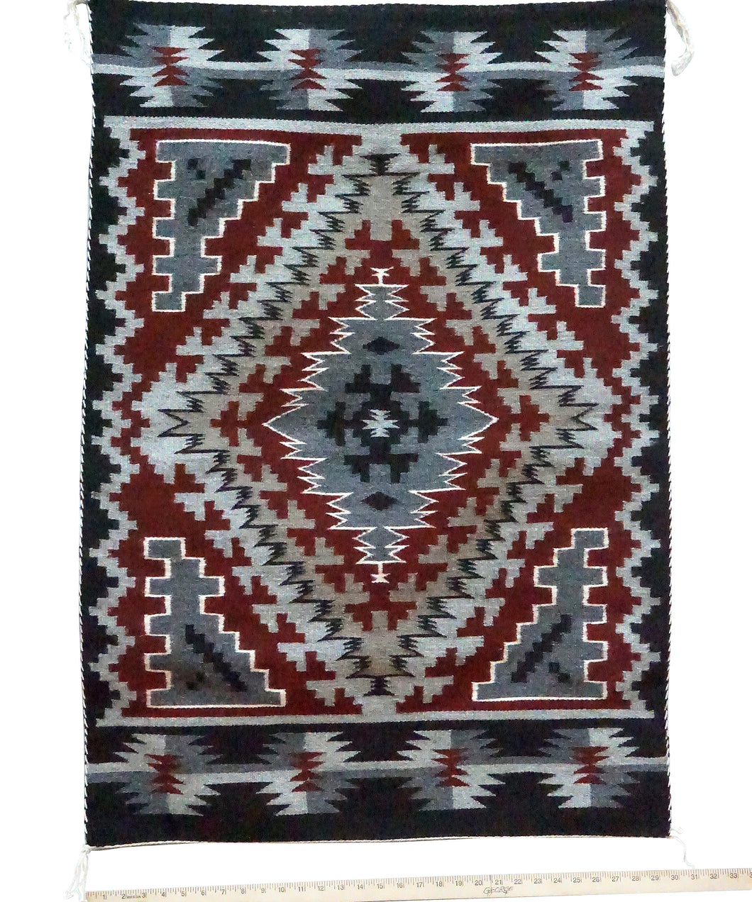 Jeff Benally, Ganado Red Weaving, Diamond, Navajo Handwoven, 43