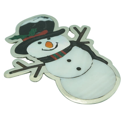 "Load image into Gallery viewer, Dale Edaakie, Pin, Pendant, Snowman, Silver, Zuni Handmade, 3 1/4"" x 2 1/2"""