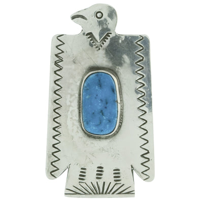 "Load image into Gallery viewer, Fred Begay, Pin, Eagle, Kingman Turquoise, Old Style, Navajo Made, 2"" x 1 1/8"""