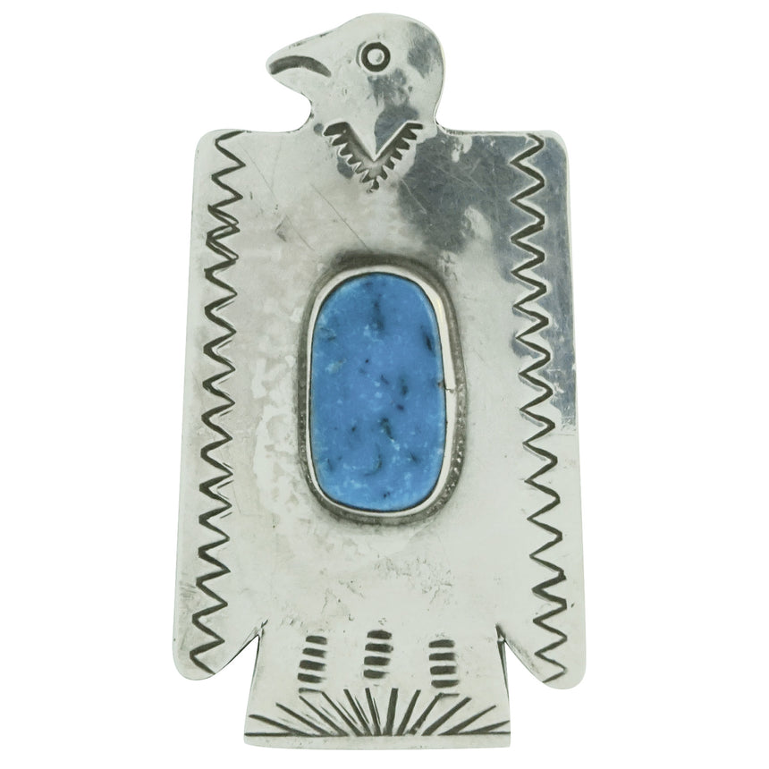 Fred Begay, Pin, Eagle, Kingman Turquoise, Old Style, Navajo Made, 2