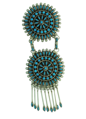 Merlinda Chavez, Pendant, Pin, Sleeping Beauty Turquoise, Zuni, 4 3/4