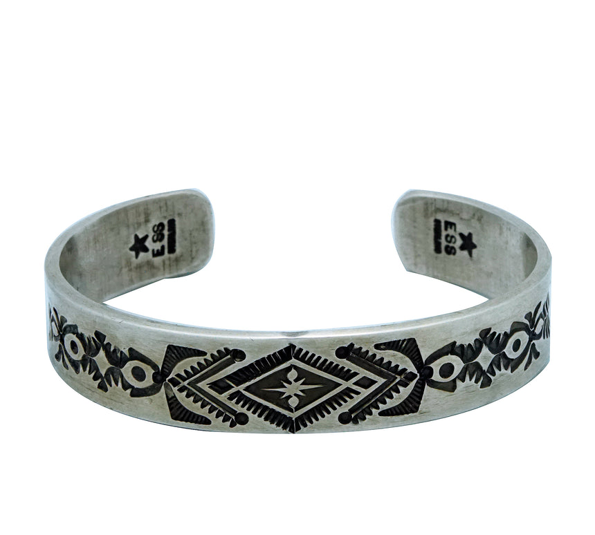 Edison Sandy Smith, Bracelet, Stamping, Antique Finish, Navajo Handmade, 7