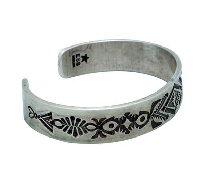 Load image into Gallery viewer, Edison Sandy Smith, Bracelet, Stamping, Antique Finish, Navajo Handmade, 7