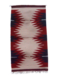 "Gallup Throw Rug, Tan, Black, Red Wool Cotton, Navajo, 37"" x 20 1/4"""