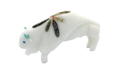 Load image into Gallery viewer, Michael Laweka, Buffalo Fetish, Marble, Opal, Turquoise, Zuni, 2.5