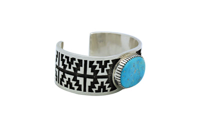 Load image into Gallery viewer, Tommy Jackson, Bracelet, Easter Blue Turquoise, Overlay, Navajo Handmade, 6 3/8""