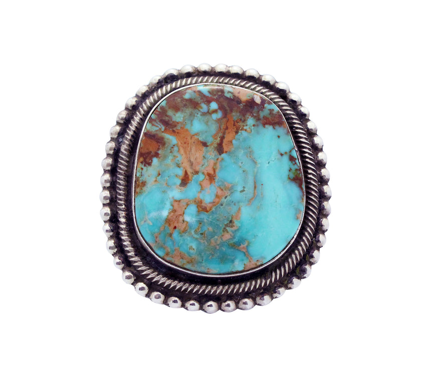 Rick Martinez, Ring, Pilot Mountain Turquoise, Sterling Silver, Navajo Made,