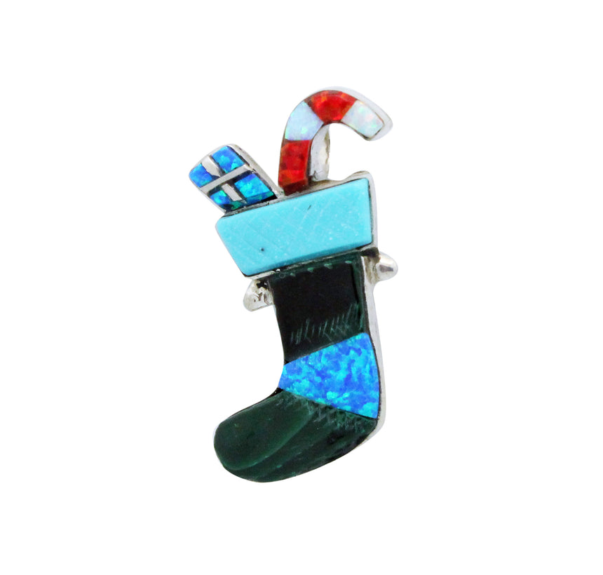 Stephen Lonjose, Pin, Pendant, Christmas Stocking, Inlay, Zuni Handmade, 1.5