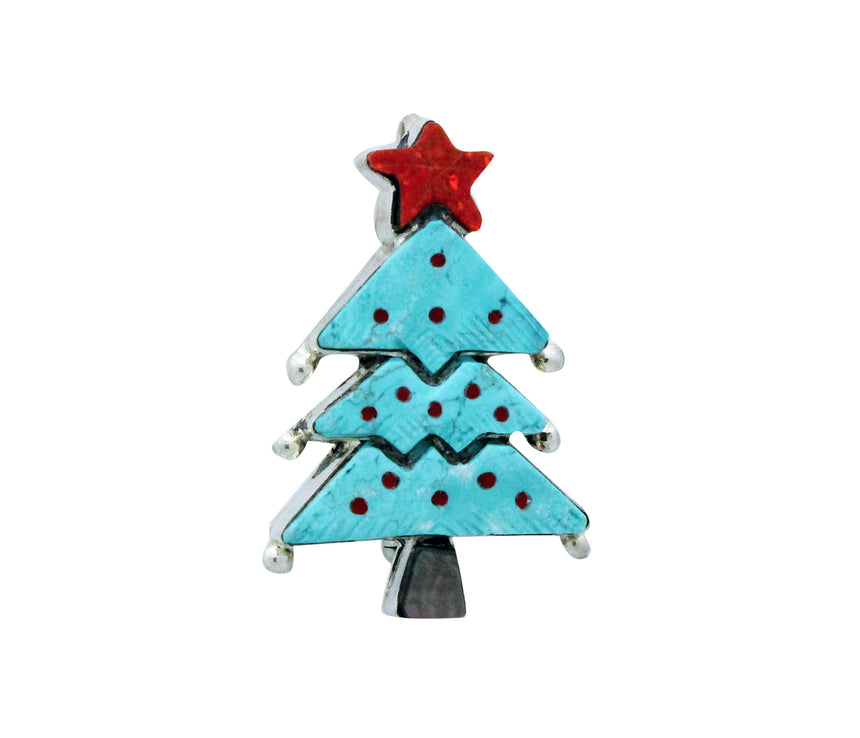 Stephen Lonjose, Pin, Pendant, Blue Christmas Tree, Inlay, Zuni Made, 1.75