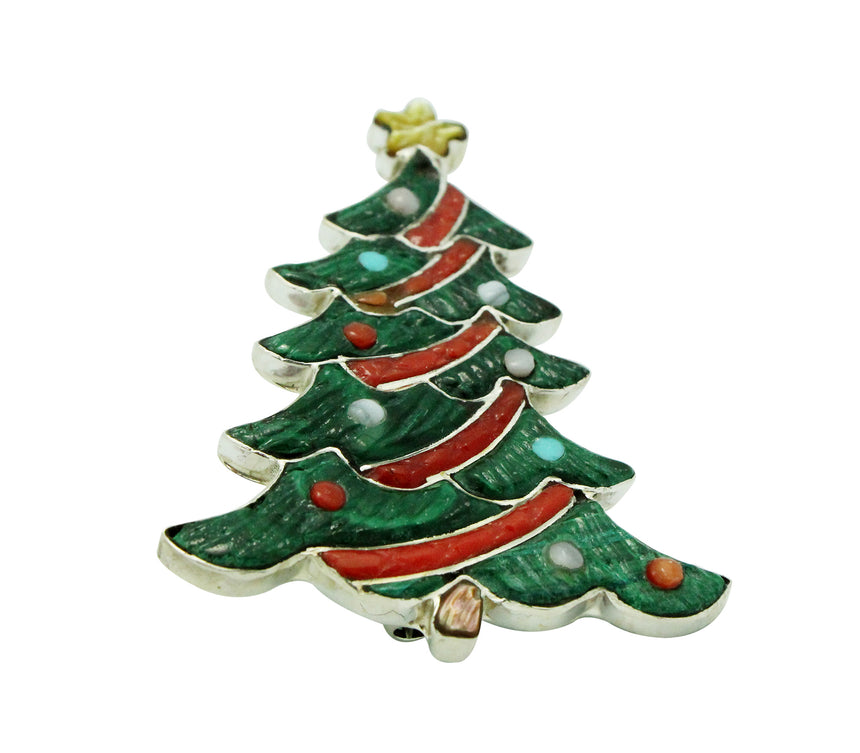 Tamara Pinto, Pin, Pendant, Christmas Tree, Inlay, Zuni Handmade, 2.1
