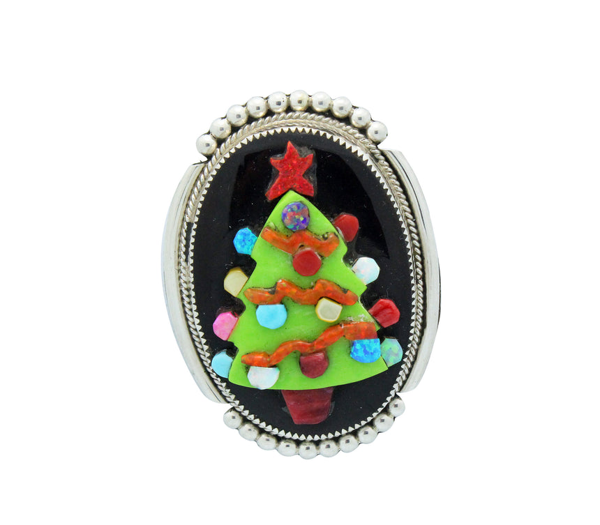 Beverly Etsate, Pin, Pendant, Multi Stone, LG Christmas Tree, Zuni Made, 2.25