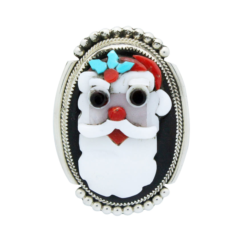 Beverly Etsate, Christmas Pin, Pendant, Multi Stone, LG Santa Clause, Zuni, 2.25
